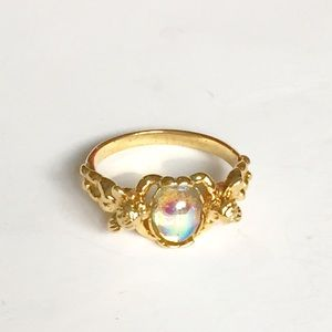 Vintage Kirks Folly Gold Angel Cabachon Ring